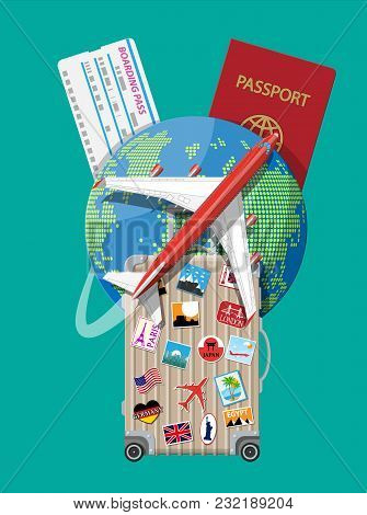 Travel Suitcase With Stickers Of Countrys And Citys All Over The World. Globe With Travel Destinatio