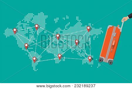 Red Travel Bag In Hand. Plastic Case. Trolley On Wheels. Travel Baggage And Luggage. World Map. Vect