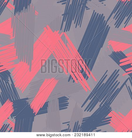 Abstract Colored Seamless Background Of Doodle. Multicolored Doodles Are Drawn With A Felt Pen Rando