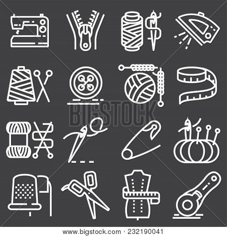 Vector Sewing Equipment And Needlework Icons Set