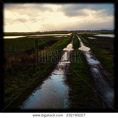 Tracks Crossing Flooded Agricultural Land In East Anglia