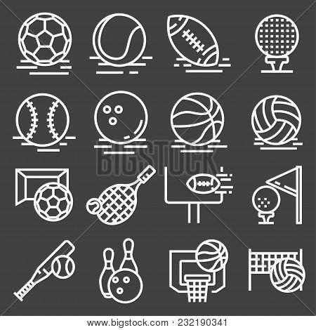 Sports Balls Icons Set On Gray Background. Vector Illustration