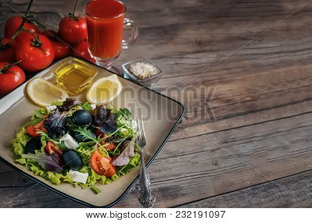 Salad Diet For Weight Correction From The Leaves Of Lollo Rosso Lettuce, Watercress Salad And Other