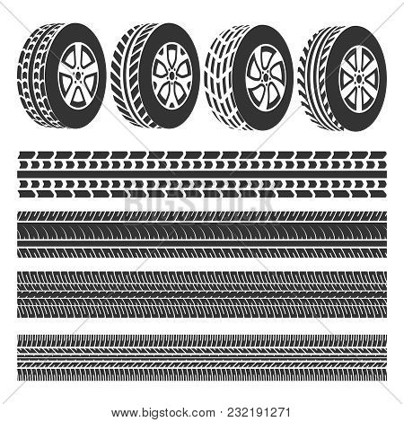 Tire Shop, Tire Tracks Set Vector Isolated On White Background Illustration