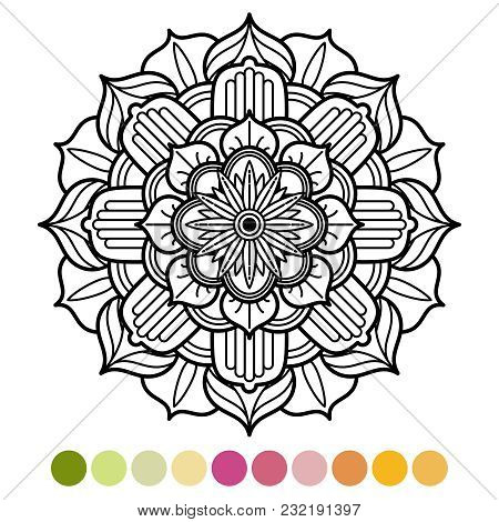Antistress Mandala Coloring Page With Colors Sample. Asian, Arabis Ornament Design. Vector Illustrat