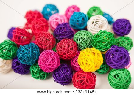 Colored wicker balls, hank, thread background texture poster