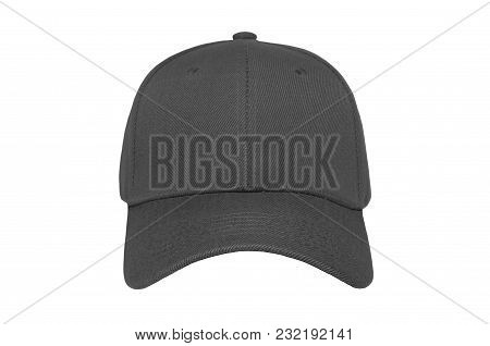Baseball Cap Color Darkgrey Close-up Of Front View On White Background