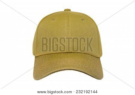 Baseball Cap Color Gold Close-up Of Front View On White Background