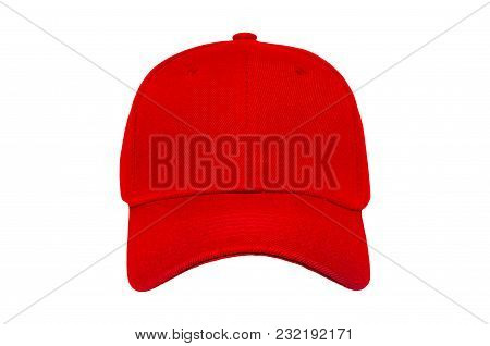 Baseball Cap Color Red Close-up Of Front View On White Background