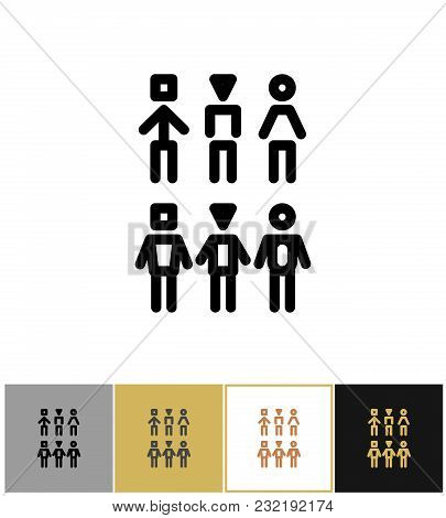 People Icons, Human Persons Or Customer Symbols On Gold, Black And White Backgrounds Vector Illustra