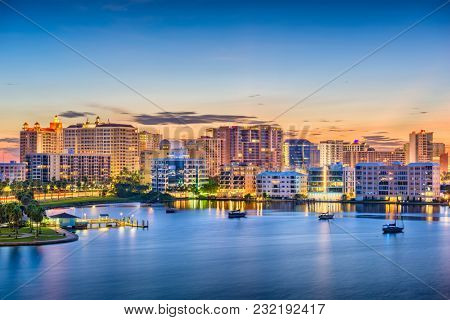 Sarasota, Florida, USA skyline on the bay at dawn.