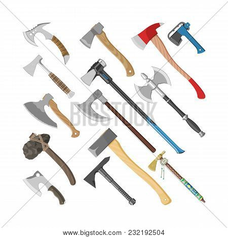 Ax Vector Metal Axe Equipment With Wooden Handle Illustration Set Of Hatchet With Sharp Blade For Co