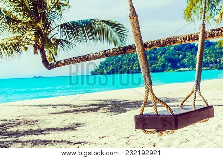 View On Swing On Tropical Beach On Koh Kodd Island In Thailand