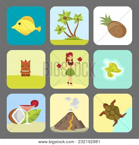 Hawaii Symbols And Dancer Woman Including Hula Tiki Gods, Totem Pole, Tiki Torches And Fish. Beautif