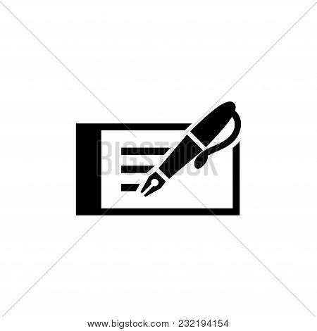 Business Visit Card With Fountain Pen. Flat Vector Icon. Simple Black Symbol On White Background