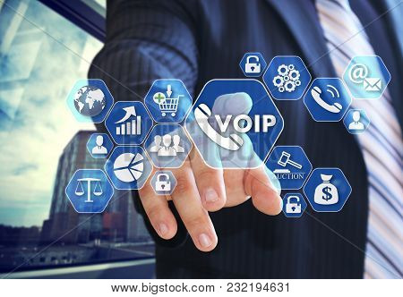 The Businessman Chooses Voip On The Virtual Screen In Social Network Connection.