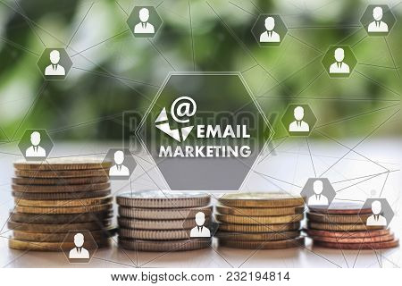 Email Marketing On The Touch Screen With A  Blur Financial Background .the Concept Email Marketing