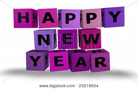 Cubos con palabras de feliz año nuevo