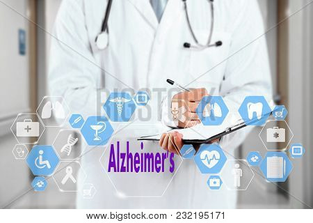 Medical Doctor  And Alzheimer's Sign In Medical Network Connection On The Virtual Screen On Hospital