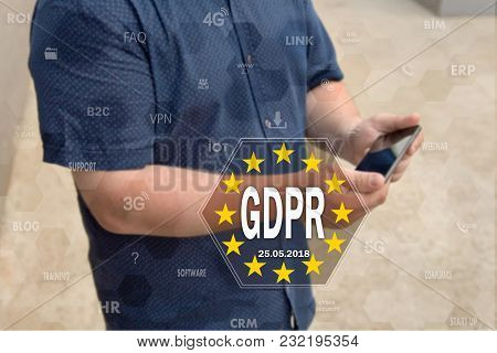 General Data Protection Regulation. Gdpr On The Touch Screen With A Blur Background Of The Businessm
