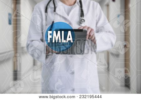 Family Medical Leave Act. Fmla On The Touch Screen With Icons On The Background Blur Medicine Doctor