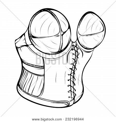 Fashion Illustration Of A Female Retro Corset Made In Thumbnail Style On A White Background