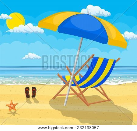 Landscape Of Wooden Chaise Lounge, Umbrella, Flip Flops On Beach. Day In Tropical Place. Vector Illu