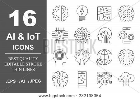 Simple Set Of Artificial Intelligence Related Line Icons Contains Such Icons As Droid, Eye, Chip, Br
