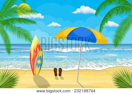 Landscape Of Wooden Chaise Lounge, Umbrella, Flip Flops On Beach. Sea And Sand Beach. Holiday Sea Su