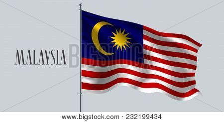 Malaysia Waving Flag On Flagpole Vector Illustration. Red Blue Element Of Malaysian Wavy Realistic F