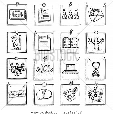 Doodle Business Career Development Elements Set With Human Resources Management Recruitment Icons On