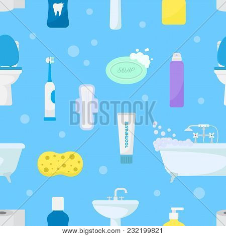 Hygiene Personal Care Vector Toiletries Set Of Hygienic Bath Products And Bathroom Accessories Soap