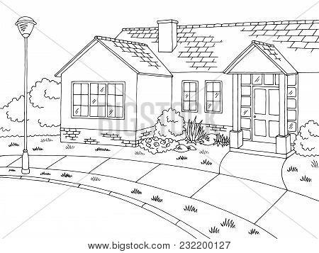 Street Road Graphic House Black White Landscape Sketch Illustration Vector