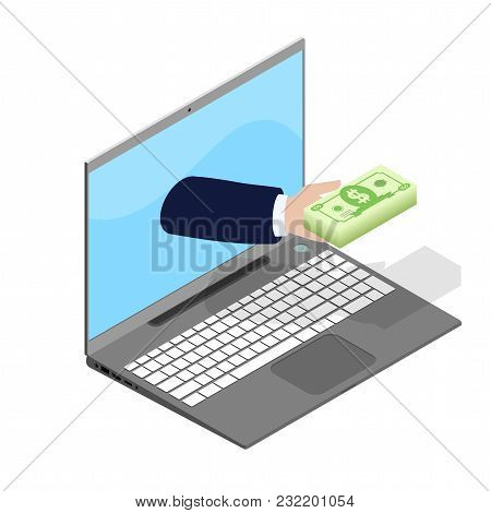 The Person Through The Internet Gives The Financial Help, The Laptop In Isometric Style