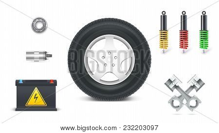 Icons Of Car Parts For Garage, Auto Services. Set Of Automotive Shock Absorbers, Tyre With Disc, Pis