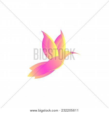 Colorful Hummingbird Sign. Simple Bird Colibri Logo. Drawing Of Animal Fly. Vector Illustration. Spa
