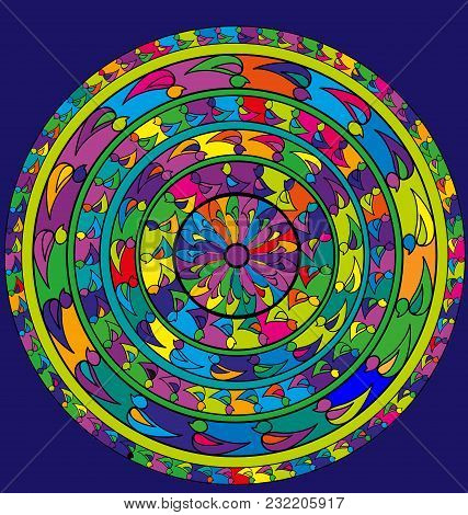 Abstract Colored Image Of Circle Consisting Of Lines And Figures