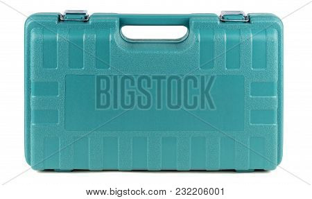 Tool Box Made Of Hard Plastic With Metallic Clasps Of Turquoise Color Isolated On White Background