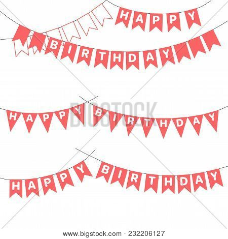 Set Of Hand Drawn Vector Illustrations With Bunting, Happy Birthday Letters Written On The Flags. Is