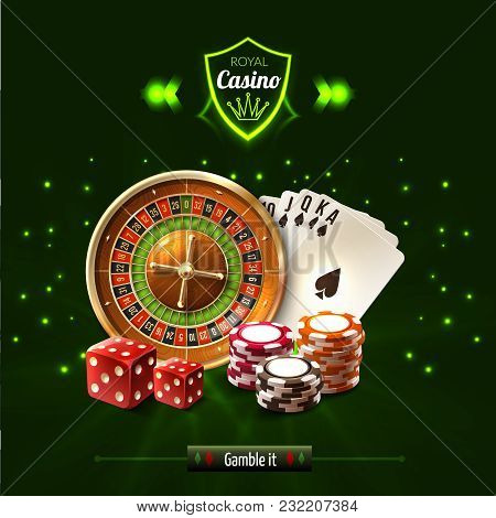 Gamble It Casino Realistic Composition With Dice Playing Cards Roulette And Chips Vector Illustratio