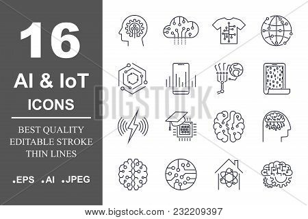 Set Of 16 Quality Icons About Ai, Iot, Future Technology. Editable Stroke. Eps 10