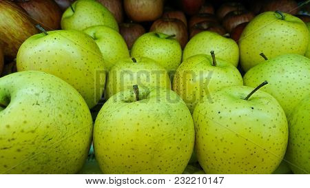 Tasty Fresh Green Apples At Grocery Store.buy & Eat Natural Vitamin Food.farmer Market Department In
