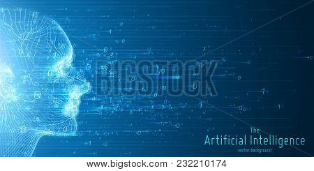 Human Big Data Visualization. Futuristic Artificial Intelligence Concept. Cyber Mind Aesthetic Desig