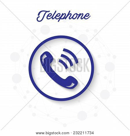 Telephone Phone Receiver Circle Frame Background Vector Image