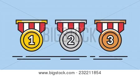 Medal Vector Set. Gold, Silver, Bronze Medal. Medal Icon In Flat Style. Illustration Isolated On Blu