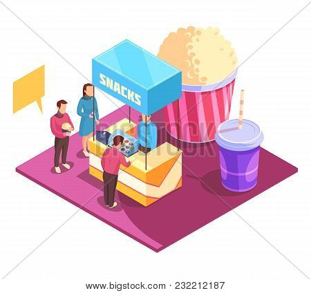 Snacks In Cinema Theater Isometric Composition Including Persons, Booth With Sweets, Pop Corn And Dr
