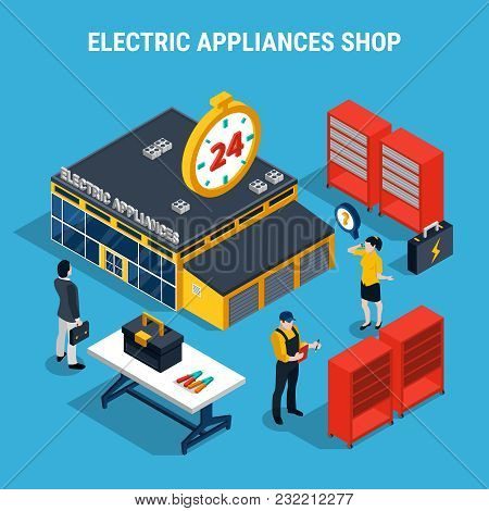 Electricity Isometric 3d Composition With Electric Appliances Shop With Buyers And Sellers Vector Il