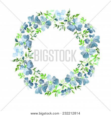 Wreath Made Of Gentle Blue Flowers And Green Leaves. Brier Twig On White Background. Round Shape. Wa