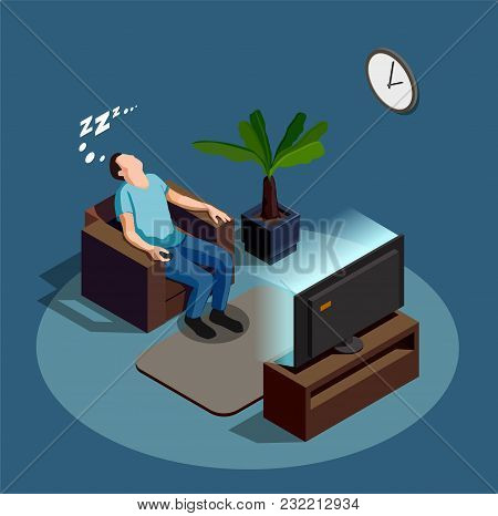 Sleep During Watching Tv, Composition On Blue Grey Background With Man In Chair, Interior Elements V