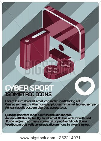 Cyber Sport Isometric Poster. Vector Illustration, Eps 10